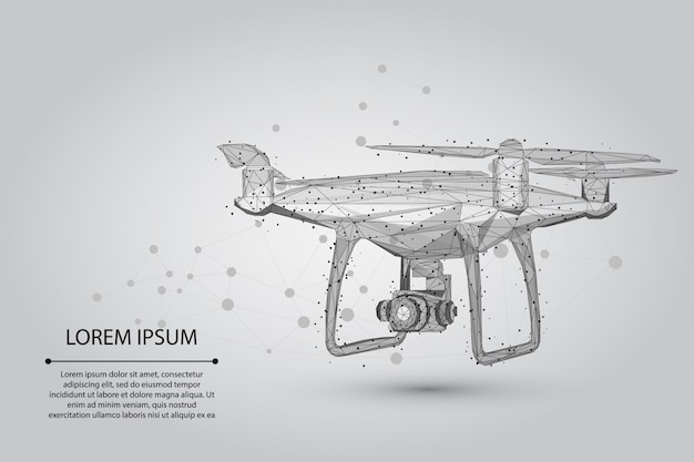 Abstrakte mash-linie und punkt quadrocopter polygonale low-poly-3d-flugdrohne
