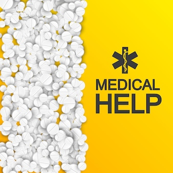 Abstrakte medizinische versorgungsschablone mit inschrift und weißen pharmazeutischen medikamenten auf orange illustration