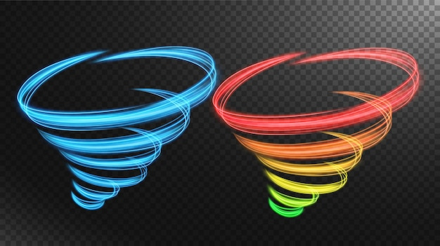 Abstrakte mehrfarbige tornado-linie des lichtvektors