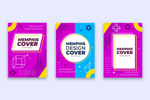 Abstrakte memphis design cover sammlung