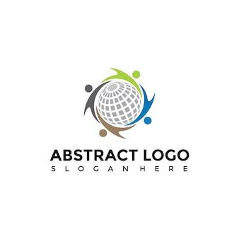 Abstrakte menschen und globus logo vorlage