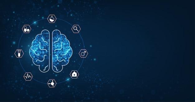 Abstrakte menschliche gehirnform einer künstlichen intelligenz auf dunkelblauem
