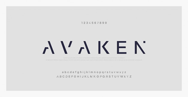 Abstrakte minimale moderne alphabetgüsse. typografie