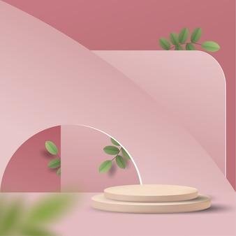 Abstrakte minimale szene auf pastellhintergrund mit zylinderpodest und blättern. bühnenmodell-schaufenster für produkt, banner, verkauf, präsentation, kosmetik und rabatt. 3d