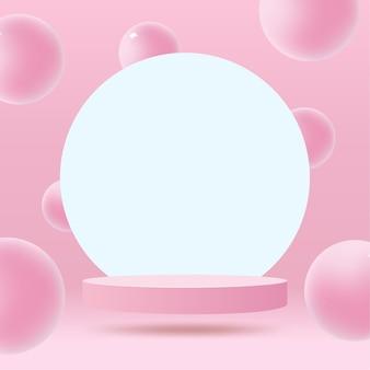 Abstrakte minimale szene auf pastellhintergrund mit zylinderpodest und blättern.