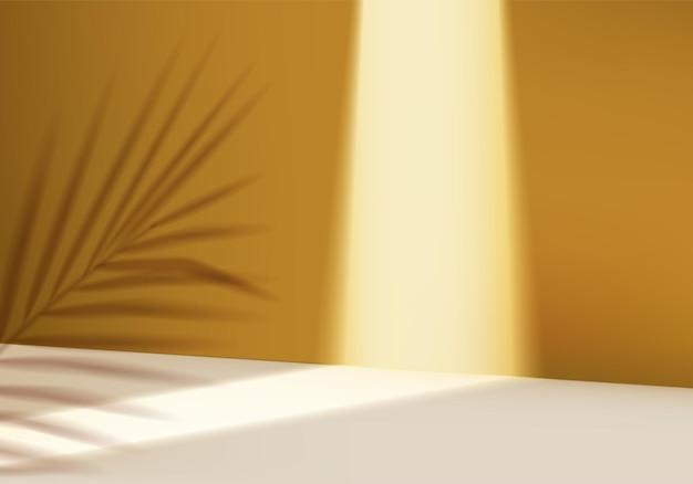 Abstrakte minimale szene des 3d-zylinders mit geometrischer blattplattform.
