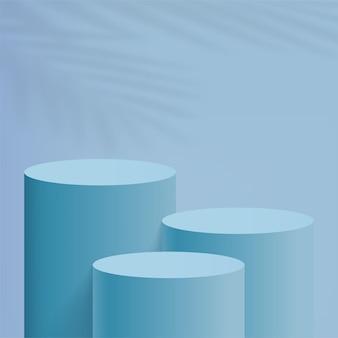 Abstrakte minimale szene mit blauen zylinderpodesten. vektor-illustration.