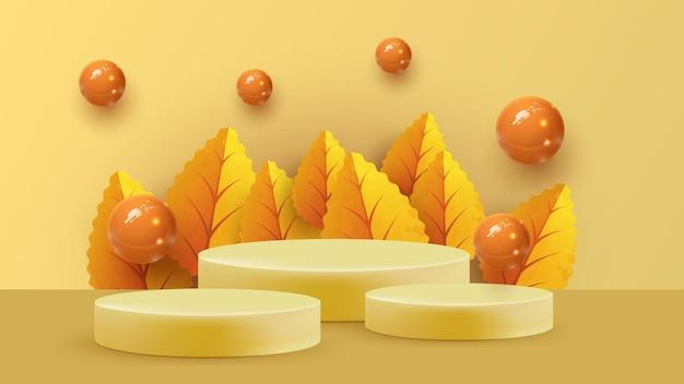 Abstrakte minimale szene mit geometrischen formen des herbstes. zylinderpodest im orangefarbenen hintergrund mit herbstpflanzenblättern. produktpräsentation, mockup, showprodukt, podium, bühnenpodest oder podest.