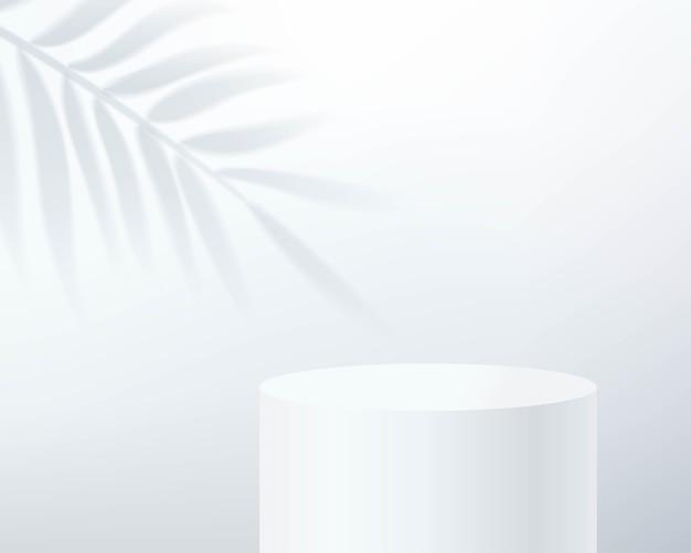 Abstrakte minimale szene mit zylinderpodest im weißen hintergrund mit schattenblatt.