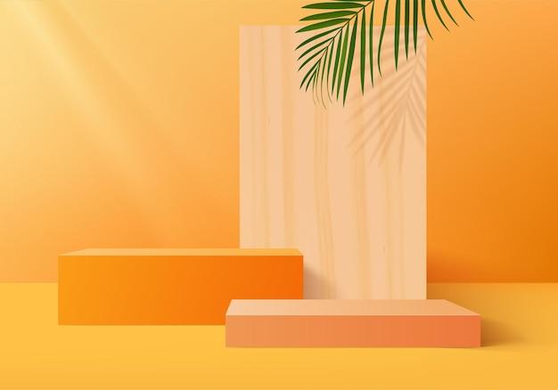 Abstrakte minimale szenenplattform des 3d studiozylinders mit blatt.