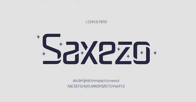 Abstrakte minimale und einzigartige moderne alphabetschriftarten. typografie technologie elektronische digitale musik zukünftige kreative schriftart.