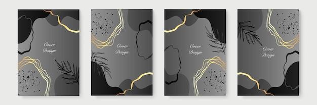 Abstrakte minimalistische plakatsammlung mit goldenen blumenlinien auf schwarzem hintergrund. luxus-banner-design. a4-format. ideal für flyer, verpackung, einladung, cover, visitenkarte