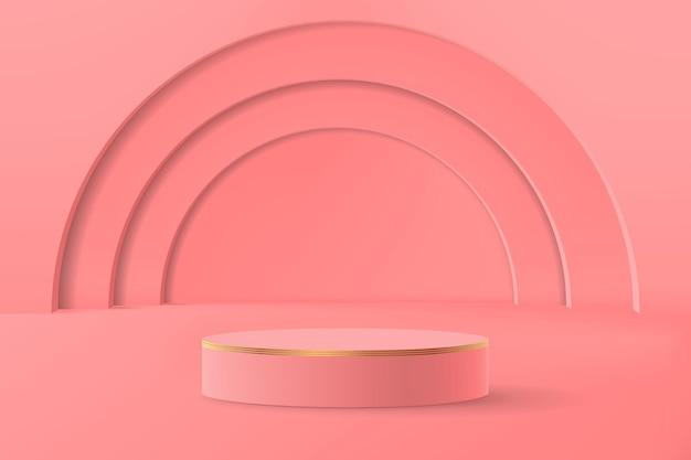 Abstrakte minimalistische szene mit geometrischen formen. leeres zylindrisches podium für produktpräsentation in rosatönen mit bögen im hintergrund.