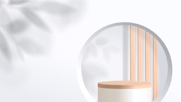 Abstrakte minimalszene mit geometrischen formen. weißes podium mit blättern. produktpräsentation, ausstellung kosmetischer produkte, podium, bühnensockel oder plattform.