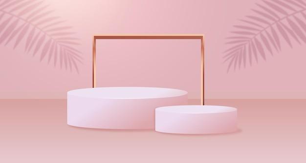 Abstrakte minimalszene mit geometrischen formen. weißes podium mit blattschatten.