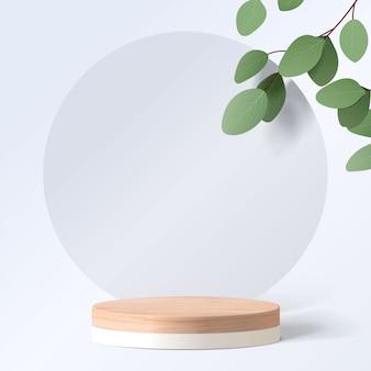 Abstrakte minimalszene mit geometrischen formen. zylinderholzpodest im weißen hintergrund mit blättern. produktpräsentation. podium, bühnensockel oder plattform. 3d