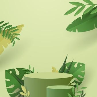 Abstrakte minimalszene mit geometrischen formen. zylinderpodest im grünen hintergrund der natur mit grünen pflanzenblättern.