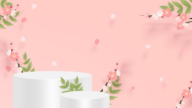Abstrakte minimalszene mit geometrischen formen. zylinderpodest mit rosa sakura-blume.