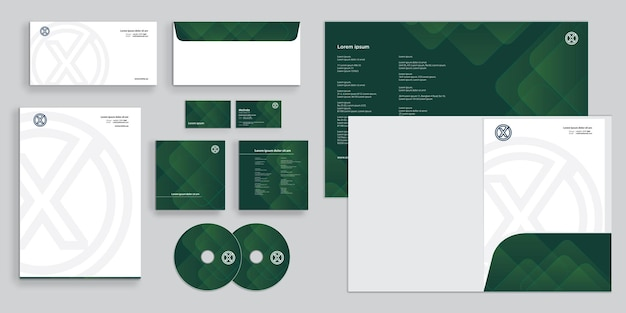 Abstrakte mischform grüne armee moderne corporate business identity stationär