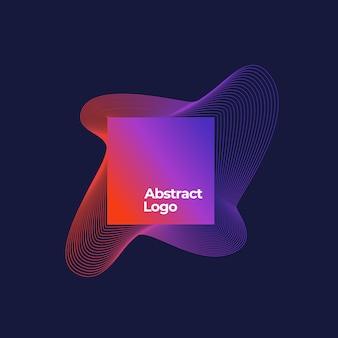 Abstrakte mischung logo vorlage. quadratischer rahmen mit eleganten gekrümmten linien mit ultraviolettem farbverlauf und moderner typografie. dunkelblauer hintergrund