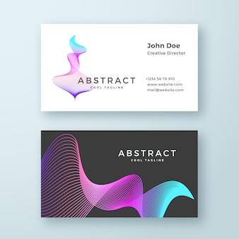 Abstrakte mischung wellige symbol visitenkartenvorlage. elegante geschwungene linien mit hellem, farbigem, stationärem verlaufslayout.
