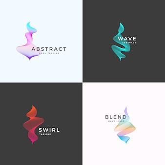 Abstrakte mischung wellige symbol-, zeichen- oder logo-vorlagen. elegante geschwungene linien mit hellem buntem farbverlauf.