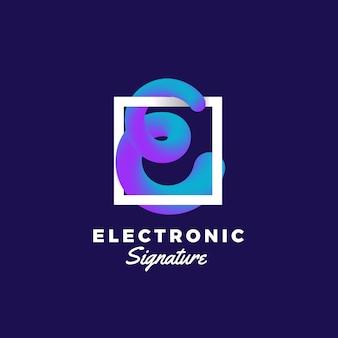 Abstrakte mischungskurve der elektronischen signatur. zeichen- oder logo-vorlage. elegante gekrümmte linie in form von buchstabe e mit ultraviolettem farbverlauf und moderner typografie. dunkelblauer hintergrund