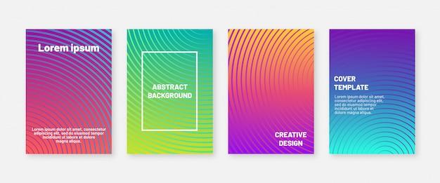 Abstrakte moderne abdeckungsentwurfsschablone. vier minimale geometrische hintergründe. kühle farbverläufe