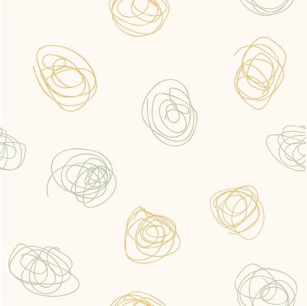 Abstrakte moderne ästhetische nahtlose muster mit trendigen verschlungenen linien. kreativer skandinavischer hintergrund für stoffe, verpackungen, textilien, tapeten, kleidung. vektor-illustration im handgezeichneten stil.