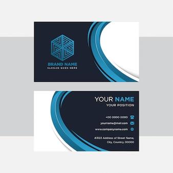Abstrakte moderne blaue elemententwürfe. dunkelblauer und weißer hintergrund für visitenkartenschablone. horizontales layout.