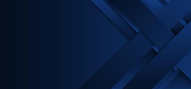 Abstrakte moderne blaue streifen oder rechteckschicht, die mit schatten auf dunkelblauem hintergrund überlappen.