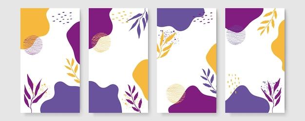 Abstrakte moderne botanische boho-plakatsammlung. organisches böhmisches wandkunstplakat mit abstrakten aquarellformen. neutrale pastellfarbe, laubzeichnung