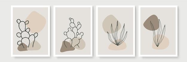 Abstrakte moderne botanische boho-plakatsammlung. organisches böhmisches wandkunstplakat mit abstrakten formen des aquarells. neutrale pastellfarbe, laubzeichnung.