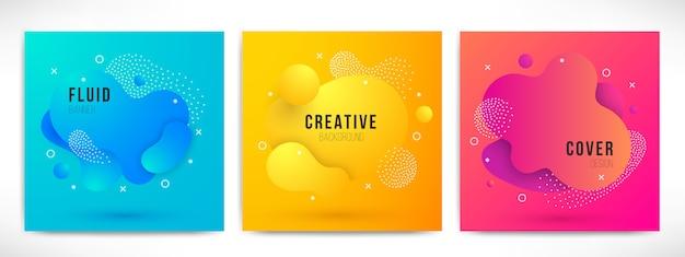 Abstrakte moderne flüssige farbe hintergründe eingestellt. dynamische bunte designelemente. geometrische formen mit flüssigem farbverlauf für präsentation, cover, logo, flyer, web. futuristische amöbenillustration