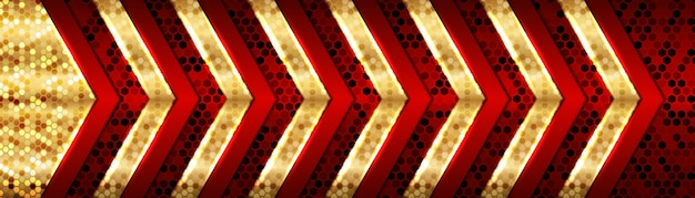 Abstrakte moderne futuristische luxusüberlappungsdesign der roten und goldenen metallischen richtung