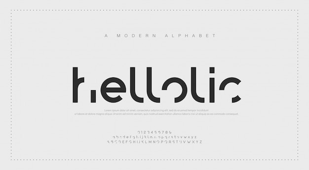 Abstrakte moderne städtische alphabetschriftarten.