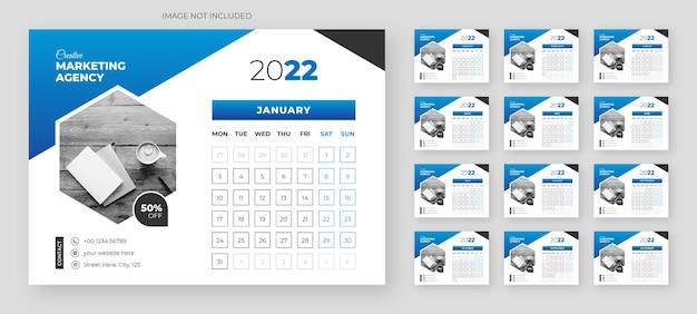 Abstrakte moderne tischkalendervorlage 2022