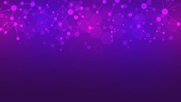 Abstrakte moleküle auf lila hintergrund. molekülstrukturen oder dna-strang, neuronales netzwerk, gentechnik. wissenschaftliches und technologisches konzept.