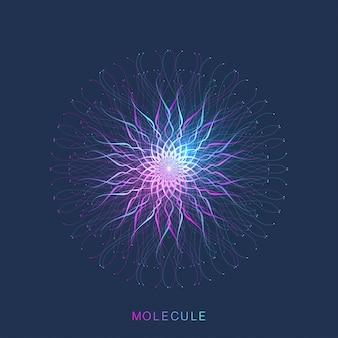 Abstrakte molekülstruktur. dna-helix, dna-strang, dna-test, molekül oder atom, neuronen. molekülstruktur für wissenschaft oder medizinisches design
