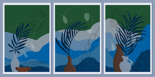 Abstrakte monochrome berglandschaften. blätter von palmen in vasen. linien und punkte symbolisieren bewegung. blaue farben der erde. natur im boho-stil.