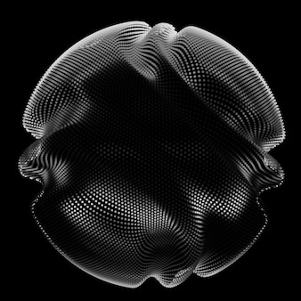 Abstrakte monochrome netzkugel auf dunklem hintergrund