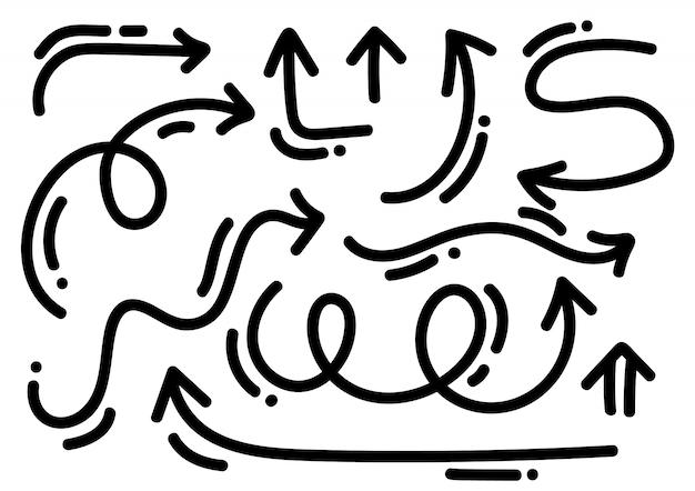 Abstrakte monoline pfeile eingestellt. handgemachte markierungsart des gekritzels