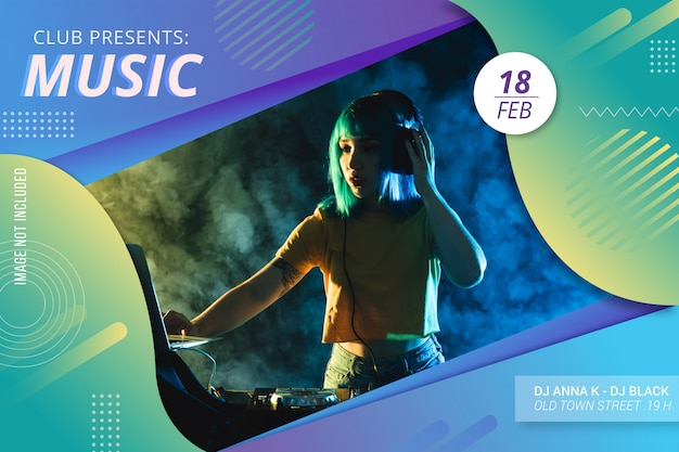 Abstrakte musik festival flyer vorlage