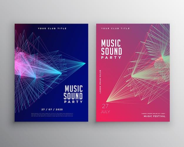 Abstrakte musik flyer vorlage design mit abstrakten linien mesh