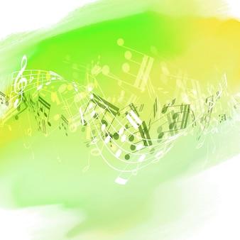 Abstrakte musik hinweis design auf einem aquarell textur hintergrund