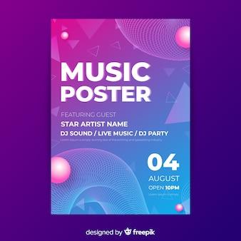 Abstrakte musik party plakat vorlage