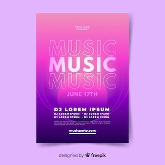 Abstrakte musik plakat vorlage mit farbverlauf