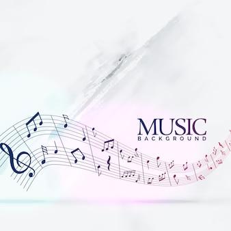 Abstrakte musikalische hintergrund mit noten welle