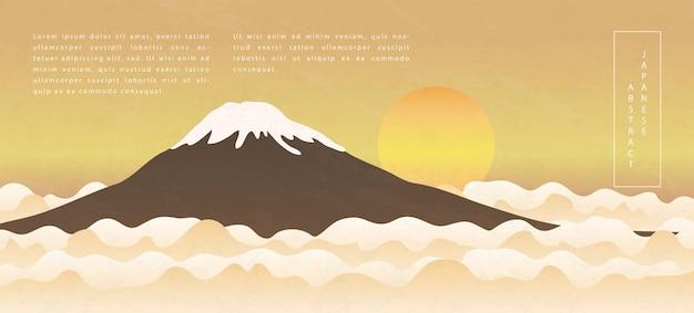 Abstrakte musterhintergrunddesign-naturlandschaftsansicht des orientalischen japanischen stils des sonnenaufgangsberges und der wolke