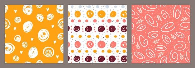 Abstrakte nahtlose muster set vektor collage mit handgezeichneten geometrischen formen doodle zeichnungen pack